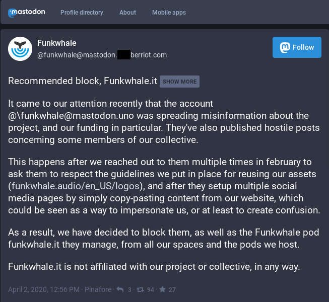 Funkwhale collective invites to block FunkwhaleIt pod and its official Mastodon account.